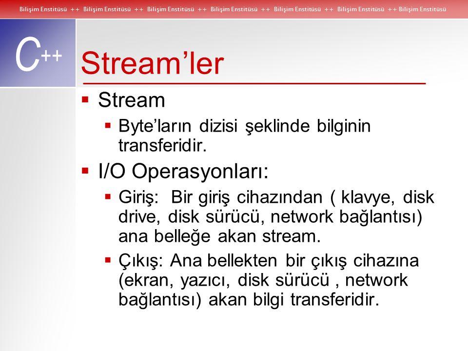 Bilişim Enstitüsü ++ Bilişim Enstitüsü ++ Bilişim Enstitüsü ++ Bilişim Enstitüsü ++ Bilişim Enstitüsü ++ Bilişim Enstitüsü ++ Bilişim Enstitüsü C ++ Stream'ler  Stream  Byte'ların dizisi şeklinde bilginin transferidir.