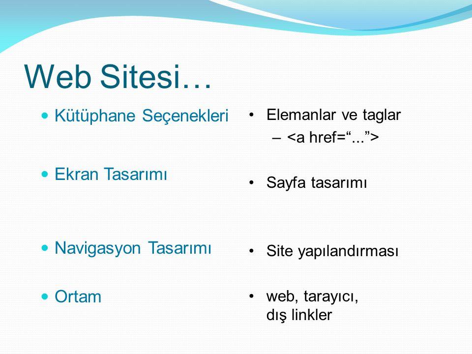 Web Sitesi… Kütüphane Seçenekleri Ekran Tasarımı Navigasyon Tasarımı Ortam Elemanlar ve taglar – Sayfa tasarımı Site yapılandırması web, tarayıcı, dış