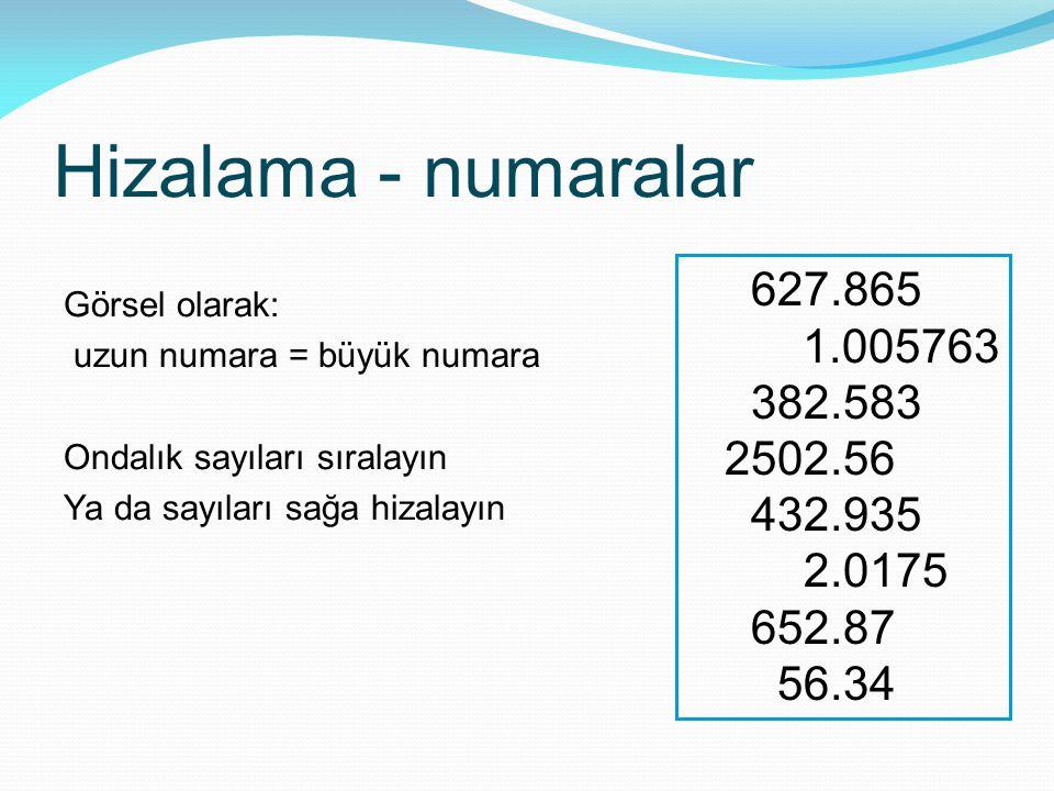 Hizalama - numaralar Görsel olarak: uzun numara = büyük numara Ondalık sayıları sıralayın Ya da sayıları sağa hizalayın 627.865 1.005763 382.583 2502.