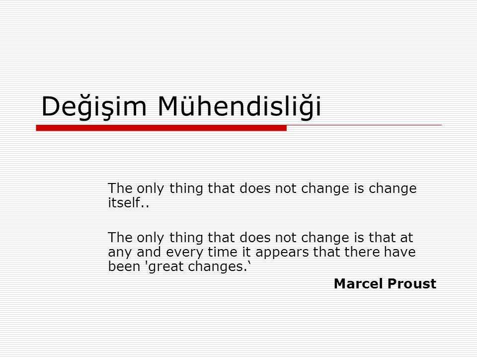 Değişim Mühendisliği Ders Notu22 Değişim Kararlılığındaki bir şirket; 1.Amaç uyumu yaratmalı, 2.Yeni felsefeyi benimsemeli, 3.Kaliteyi ürünün bir parçası olarak görmeli, 4.Ürün ve hizmet sistemini sürekli geliştirmeli, 5.İş başında eğitimi kurumsallaştırmalı, 6.Liderliği kurumsallaştırmalı, 7.Etkin bir çalışma için, önyargı ve korkuyu önlemeli, 8.Departmanlar arası engelleri ortadan kaldırmalı, 9.Herkes için eğitimi ve kendini geliştirmeyi desteklemeli, 10.Şirketteki herkesin dönüşümü gerçeklemesi için çalışmasını sağlayın (Deming, 1996).