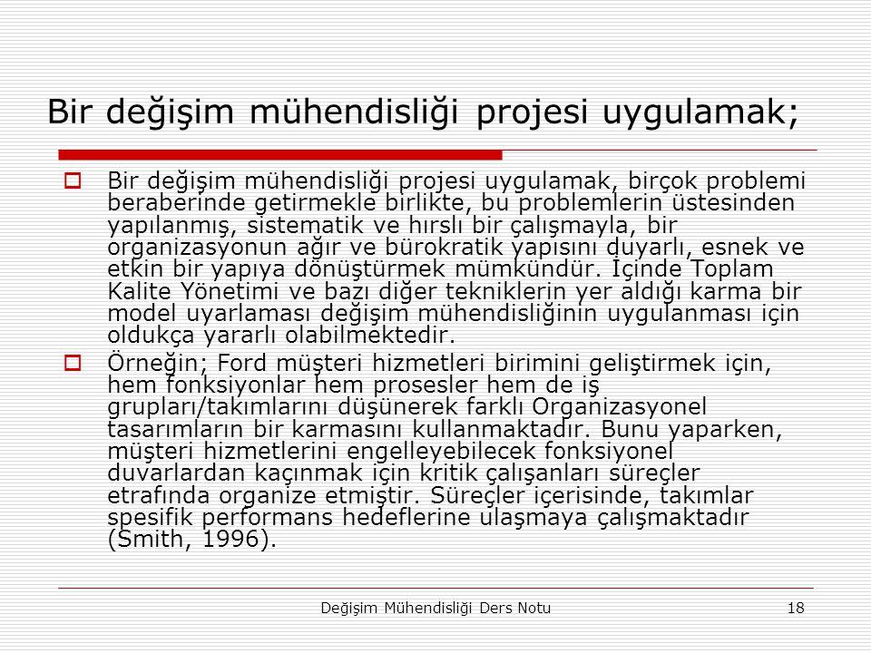 Değişim Mühendisliği Ders Notu18 Bir değişim mühendisliği projesi uygulamak;  Bir değişim mühendisliği projesi uygulamak, birçok problemi beraberinde
