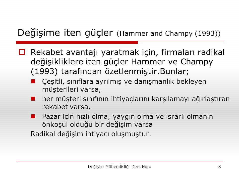 Değişim Mühendisliği Ders Notu8 Değişime iten güçler (Hammer and Champy (1993))  Rekabet avantajı yaratmak için, firmaları radikal değişikliklere iten güçler Hammer ve Champy (1993) tarafından özetlenmiştir.Bunlar; Çeşitli, sınıflara ayrılmış ve danışmanlık bekleyen müşterileri varsa, her müşteri sınıfının ihtiyaçlarını karşılamayı ağırlaştıran rekabet varsa, Pazar için hızlı olma, yaygın olma ve ısrarlı olmanın önkoşul olduğu bir değişim varsa Radikal değişim ihtiyacı oluşmuştur.