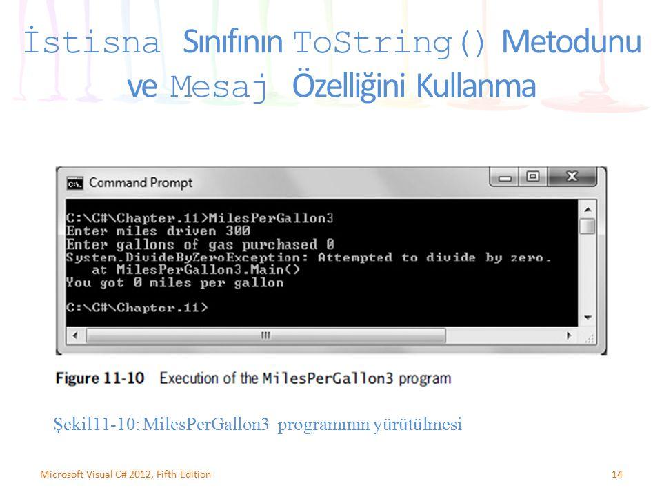 İstisna Sınıfının ToString() Metodunu ve Mesaj Özelliğini Kullanma 14Microsoft Visual C# 2012, Fifth Edition Şekil11-10: MilesPerGallon3 programının y