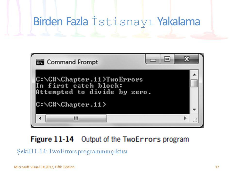 17Microsoft Visual C# 2012, Fifth Edition Birden Fazla İstisnayı Yakalama Şekil11-14: TwoErrors programının çıktısı