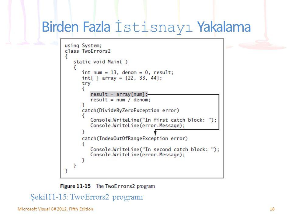 18Microsoft Visual C# 2012, Fifth Edition Birden Fazla İstisnayı Yakalama Şekil11-15: TwoErrors2 programı