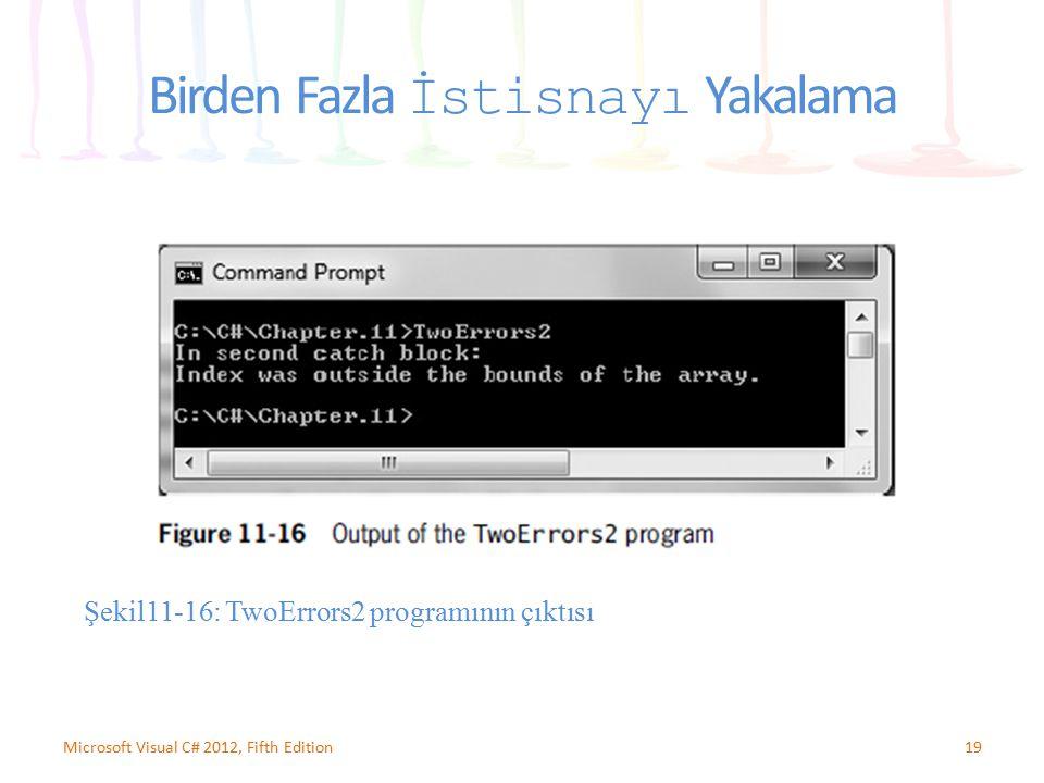 19Microsoft Visual C# 2012, Fifth Edition Birden Fazla İstisnayı Yakalama Şekil11-16: TwoErrors2 programının çıktısı