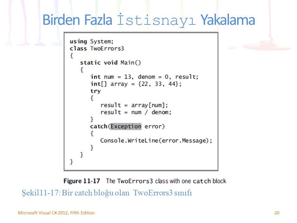 20Microsoft Visual C# 2012, Fifth Edition Birden Fazla İstisnayı Yakalama Şekil11-17: Bir catch bloğu olan TwoErrors3 sınıfı