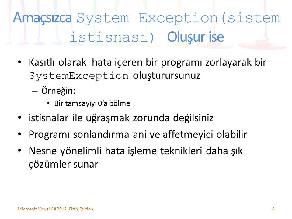 Amaçsızca System Exception(sistem istisnası) Oluşur ise Kasıtlı olarak hata içeren bir programı zorlayarak bir SystemException oluşturursunuz – Örneği