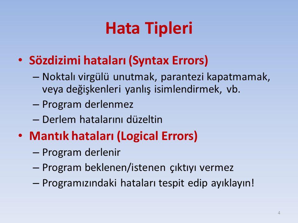 Hata Tipleri Sözdizimi hataları (Syntax Errors) – Noktalı virgülü unutmak, parantezi kapatmamak, veya değişkenleri yanlış isimlendirmek, vb. – Program