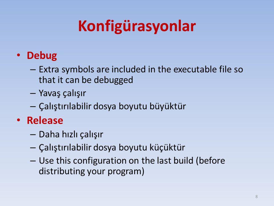 Konfigürasyonlar Debug – Extra symbols are included in the executable file so that it can be debugged – Yavaş çalışır – Çalıştırılabilir dosya boyutu