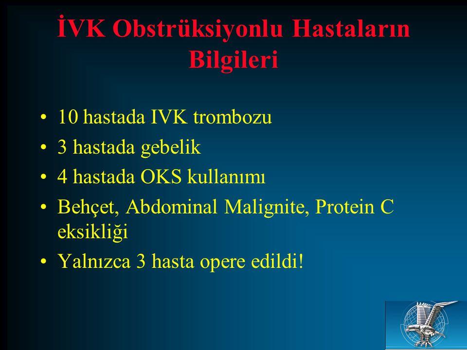 İVK Obstrüksiyonlu Hastaların Bilgileri 10 hastada IVK trombozu 3 hastada gebelik 4 hastada OKS kullanımı Behçet, Abdominal Malignite, Protein C eksik