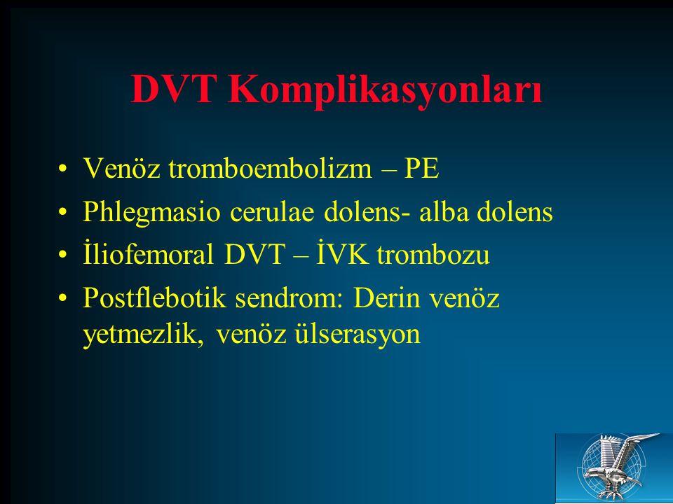 DVT Komplikasyonları Venöz tromboembolizm – PE Phlegmasio cerulae dolens- alba dolens İliofemoral DVT – İVK trombozu Postflebotik sendrom: Derin venöz