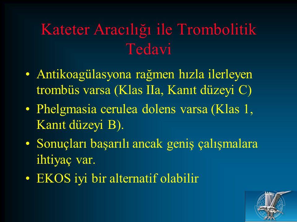 Kateter Aracılığı ile Trombolitik Tedavi Antikoagülasyona rağmen hızla ilerleyen trombüs varsa (Klas IIa, Kanıt düzeyi C) Phelgmasia cerulea dolens va