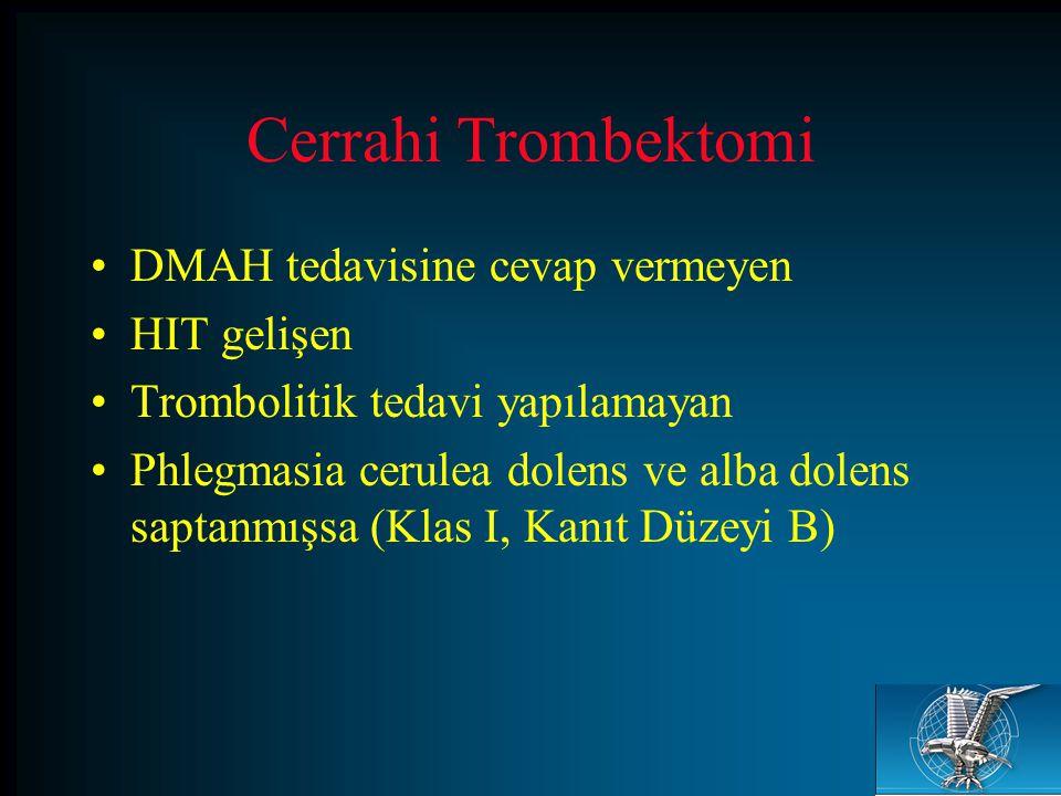 Cerrahi Trombektomi DMAH tedavisine cevap vermeyen HIT gelişen Trombolitik tedavi yapılamayan Phlegmasia cerulea dolens ve alba dolens saptanmışsa (Kl