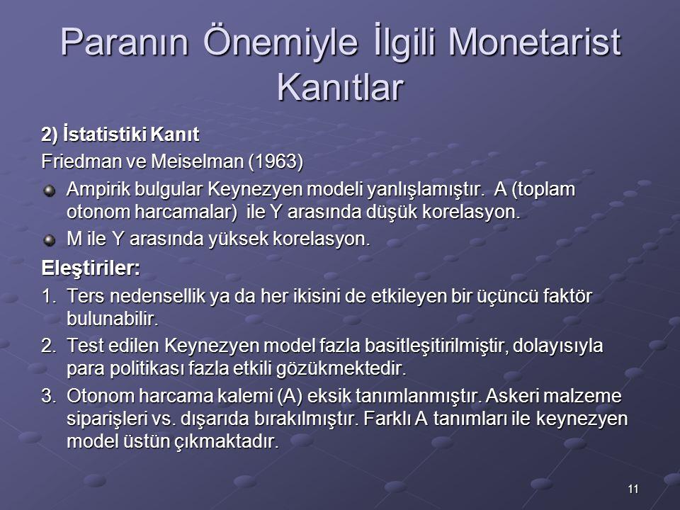 11 Paranın Önemiyle İlgili Monetarist Kanıtlar 2) İstatistiki Kanıt Friedman ve Meiselman (1963) Ampirik bulgular Keynezyen modeli yanlışlamıştır.