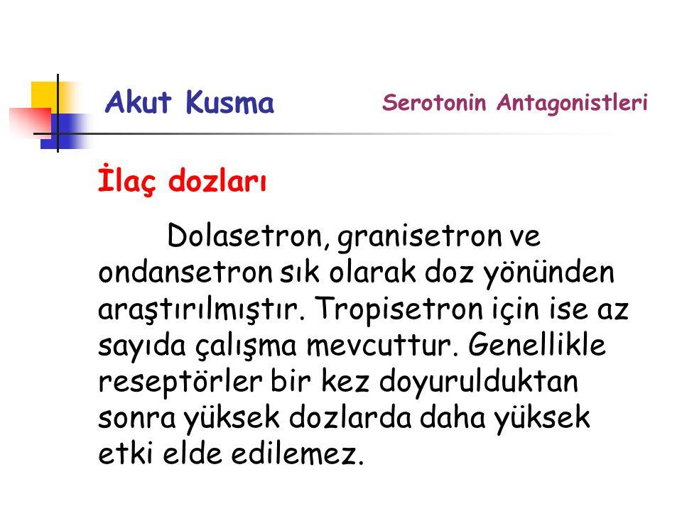 İlaç dozları Dolasetron, granisetron ve ondansetron sık olarak doz yönünden araştırılmıştır.