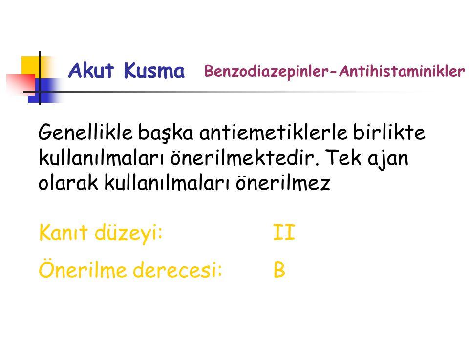 Akut Kusma Benzodiazepinler-Antihistaminikler Genellikle başka antiemetiklerle birlikte kullanılmaları önerilmektedir.