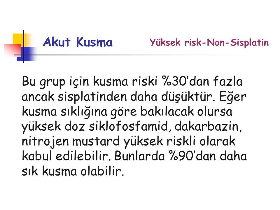 Yüksek risk-Non-Sisplatin Akut Kusma Bu grup için kusma riski %30'dan fazla ancak sisplatinden daha düşüktür.
