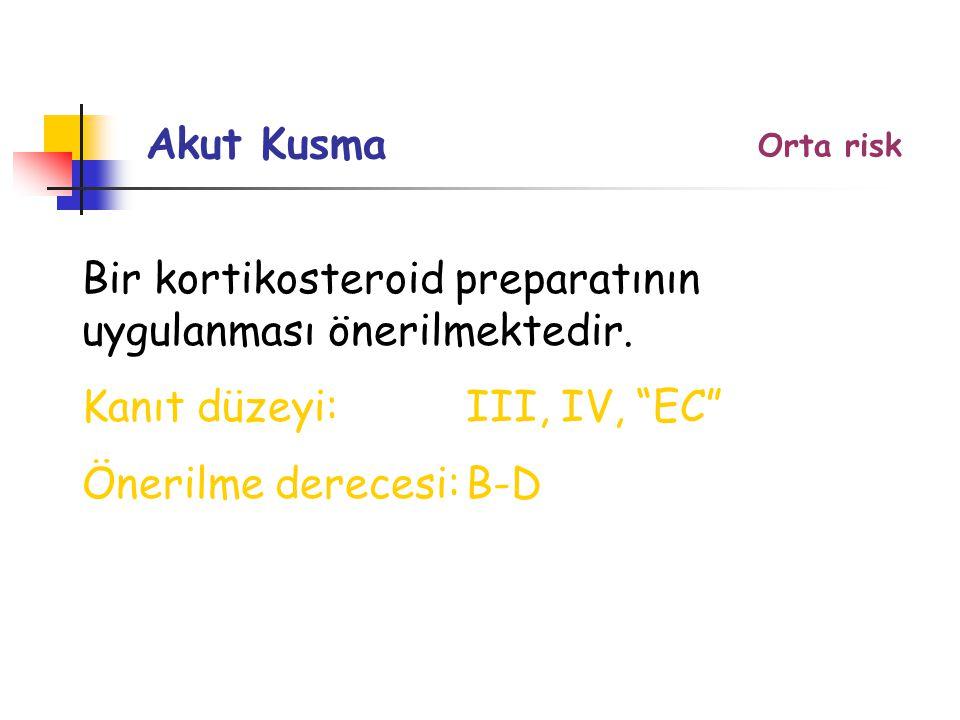 Orta risk Akut Kusma Bir kortikosteroid preparatının uygulanması önerilmektedir.