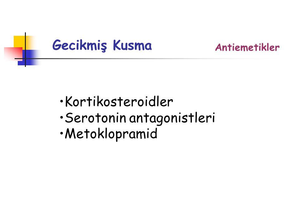 Gecikmiş Kusma Kortikosteroidler Serotonin antagonistleri Metoklopramid Antiemetikler