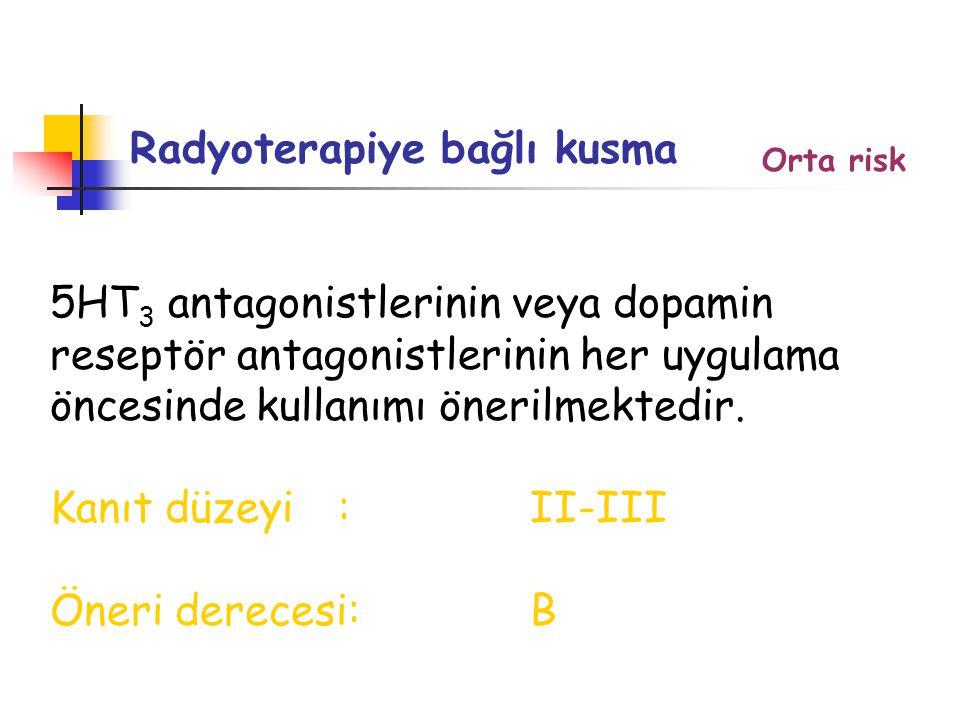 Radyoterapiye bağlı kusma 5HT 3 antagonistlerinin veya dopamin reseptör antagonistlerinin her uygulama öncesinde kullanımı önerilmektedir.