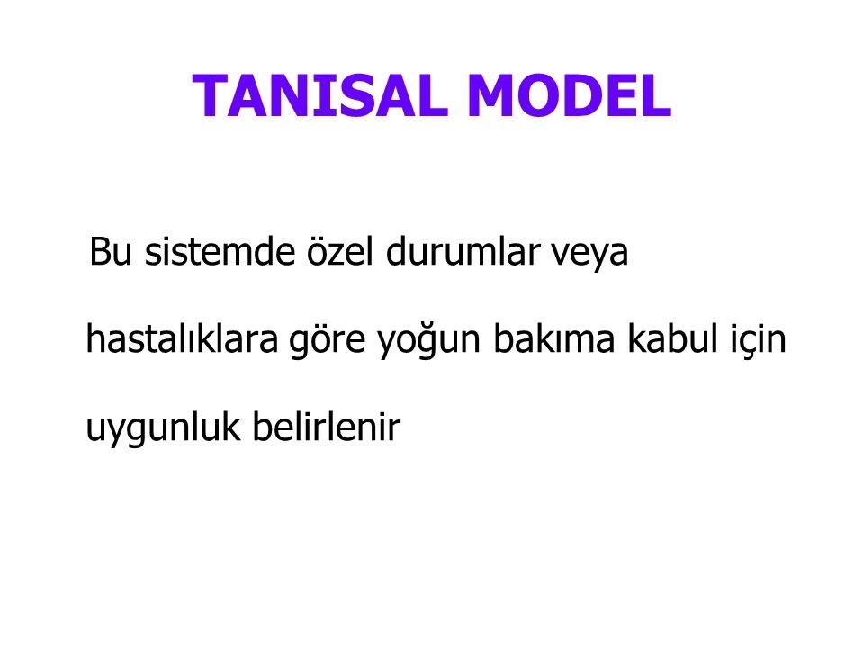 TANISAL MODEL Bu sistemde özel durumlar veya hastalıklara göre yoğun bakıma kabul için uygunluk belirlenir