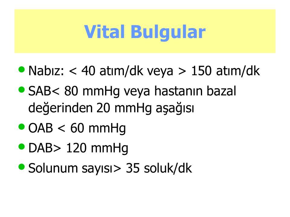 Vital Bulgular Nabız: 150 atım/dk SAB< 80 mmHg veya hastanın bazal değerinden 20 mmHg aşağısı OAB < 60 mmHg DAB> 120 mmHg Solunum sayısı> 35 soluk/dk