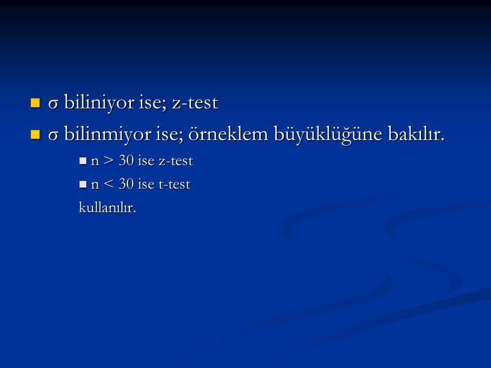 σ biliniyor ise; z-test σ biliniyor ise; z-test σ bilinmiyor ise; örneklem büyüklüğüne bakılır.