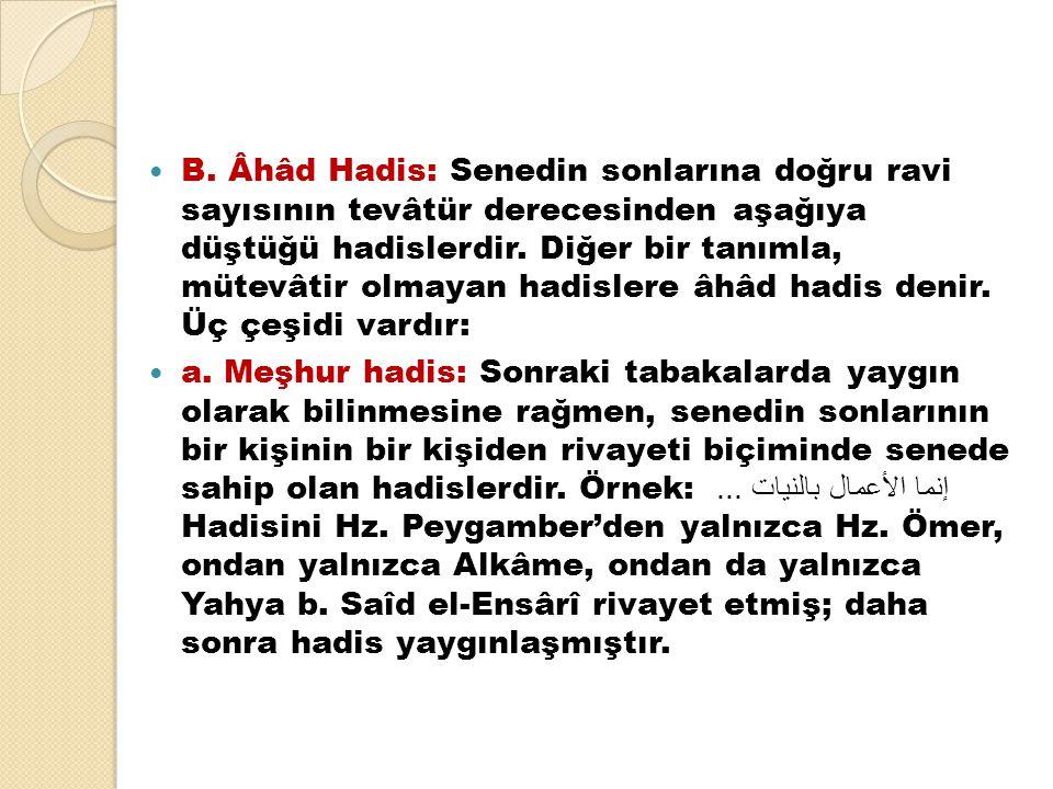 B. Âhâd Hadis: Senedin sonlarına doğru ravi sayısının tevâtür derecesinden aşağıya düştüğü hadislerdir. Diğer bir tanımla, mütevâtir olmayan hadislere