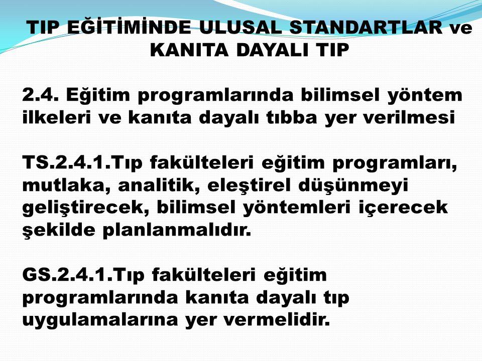 TIP EĞİTİMİNDE ULUSAL STANDARTLAR ve KANITA DAYALI TIP 2.4. Eğitim programlarında bilimsel yöntem ilkeleri ve kanıta dayalı tıbba yer verilmesi TS.2.4