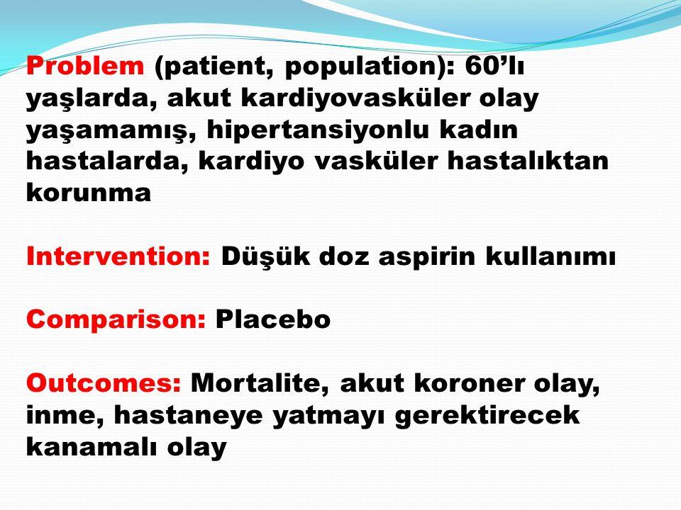 Problem (patient, population): 60'lı yaşlarda, akut kardiyovasküler olay yaşamamış, hipertansiyonlu kadın hastalarda, kardiyo vasküler hastalıktan kor