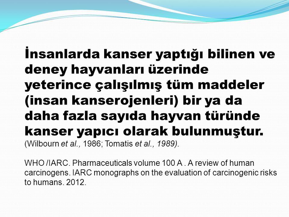İnsanlarda kanser yaptığı bilinen ve deney hayvanları üzerinde yeterince çalışılmış tüm maddeler (insan kanserojenleri) bir ya da daha fazla sayıda ha