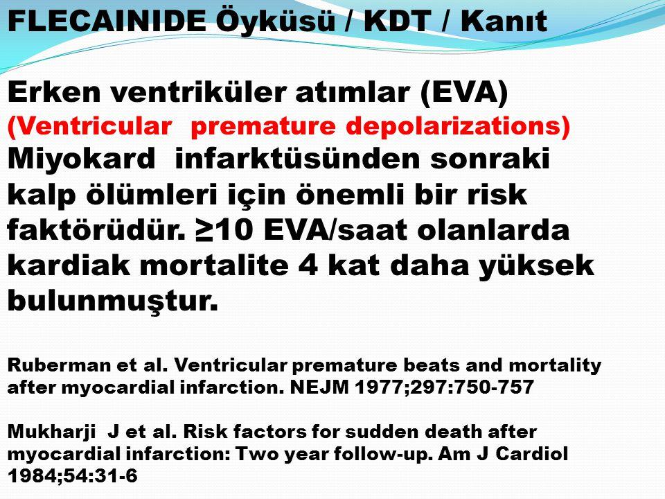 FLECAINIDE Öyküsü / KDT / Kanıt Erken ventriküler atımlar (EVA) (Ventricular premature depolarizations) Miyokard infarktüsünden sonraki kalp ölümleri