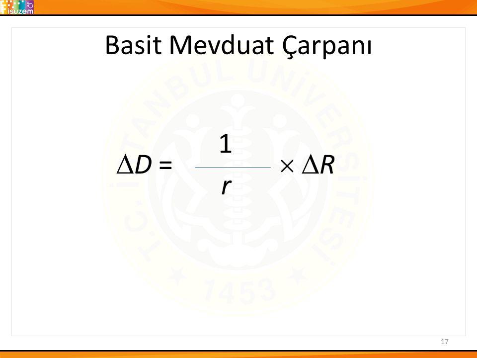 Basit Mevduat Çarpanı  1  D =   R r 17