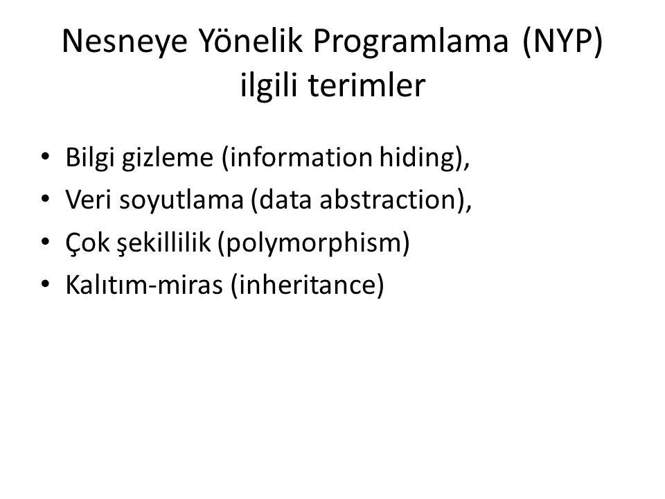 Nesneye Yönelik Programlama (NYP) ilgili terimler Bilgi gizleme (information hiding), Veri soyutlama (data abstraction), Çok şekillilik (polymorphism)