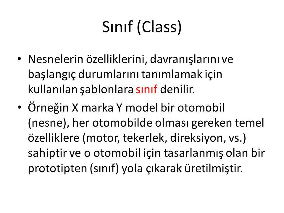 Sınıf (Class) Nesnelerin özelliklerini, davranışlarını ve başlangıç durumlarını tanımlamak için kullanılan şablonlara sınıf denilir. Örneğin X marka Y