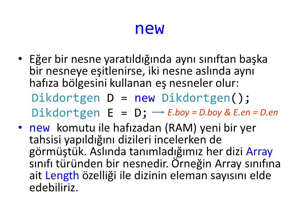 Ek Bilgi .Bir sınıf tanımı içinde yer alan özelliklere ilk değer atamak mümkündür.