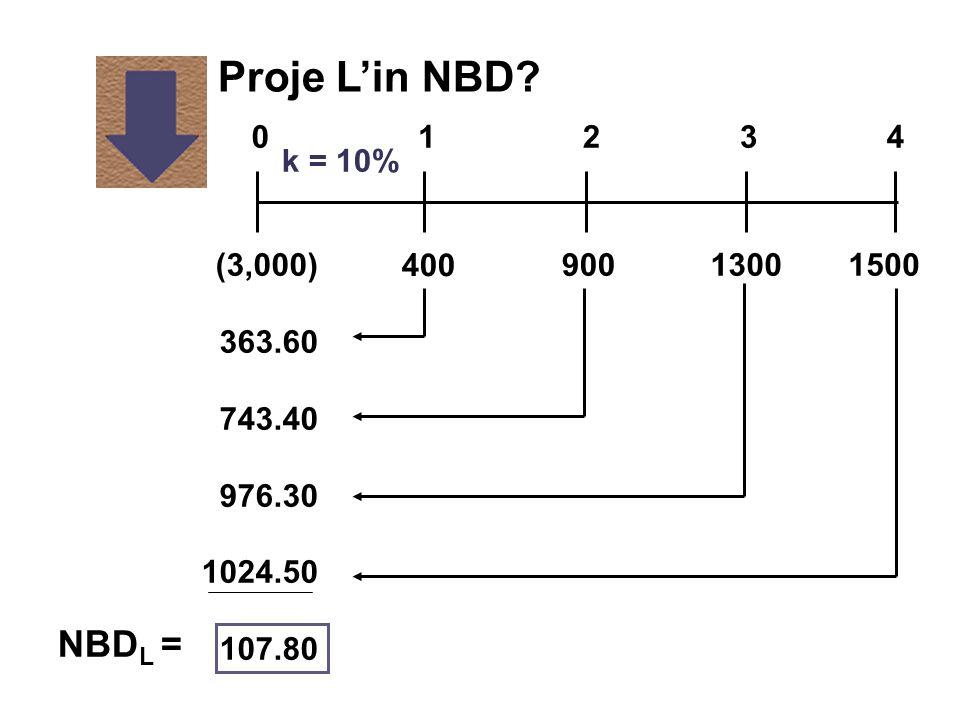 k = 10% 400 1300900(3,000) 363.60 743.40 976.30 1024.50 107.80 1500 01234 Proje L'in NBD? NBD L =