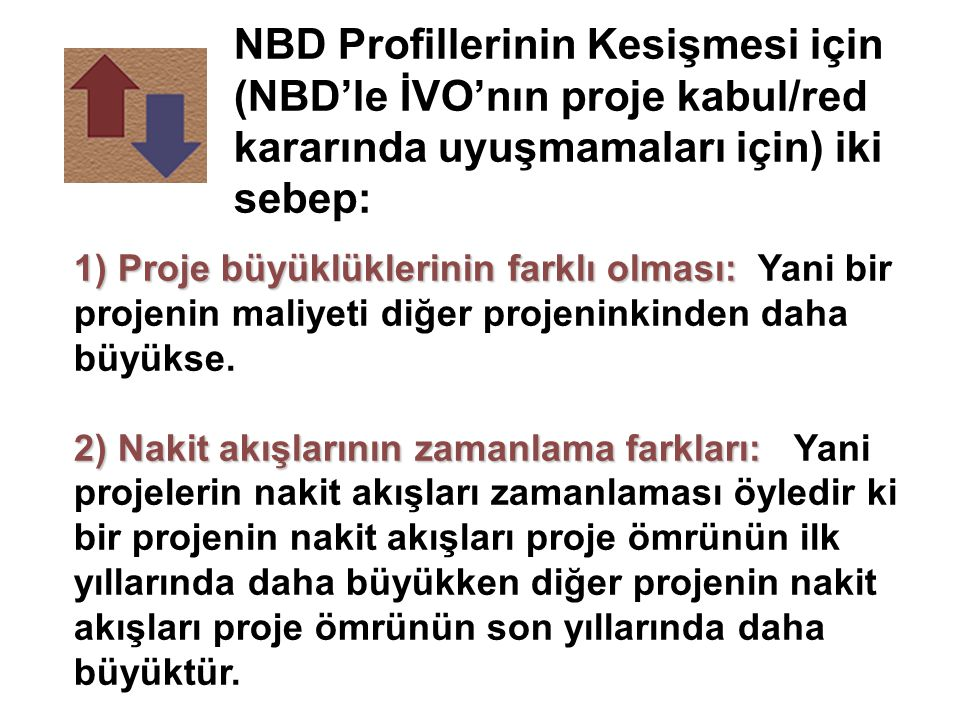 NBD Profillerinin Kesişmesi için (NBD'le İVO'nın proje kabul/red kararında uyuşmamaları için) iki sebep: 1) Proje büyüklüklerinin farklı olması: 1) Pr