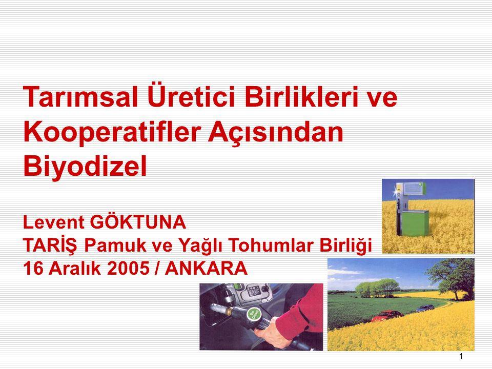 1 Tarımsal Üretici Birlikleri ve Kooperatifler Açısından Biyodizel Levent GÖKTUNA TARİŞ Pamuk ve Yağlı Tohumlar Birliği 16 Aralık 2005 / ANKARA