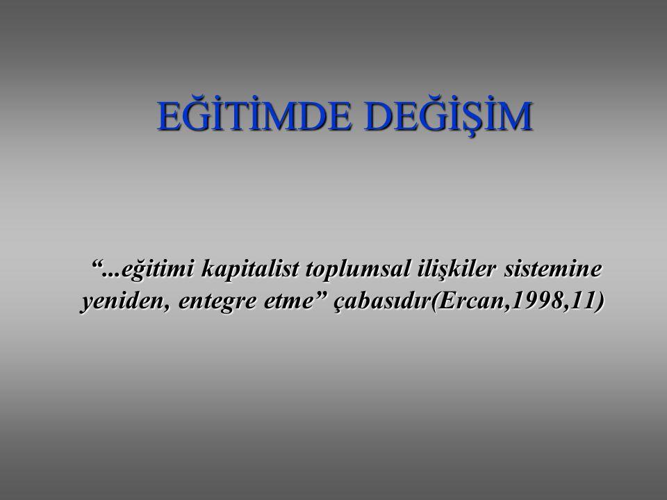 """EĞİTİMDE DEĞİŞİM """"...eğitimi kapitalist toplumsal ilişkiler sistemine yeniden, entegre etme"""" çabasıdır(Ercan,1998,11)"""