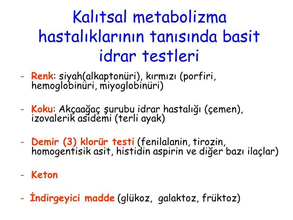 Kalıtsal metabolizma hastalıklarının tanısında basit idrar testleri -Renk: siyah(alkaptonüri), kırmızı (porfiri, hemoglobinüri, miyoglobinüri) -Koku: