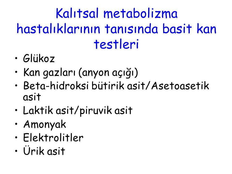Glükoz Kan gazları (anyon açığı) Beta-hidroksi bütirik asit/Asetoasetik asit Laktik asit/piruvik asit Amonyak Elektrolitler Ürik asit Kalıtsal metabol