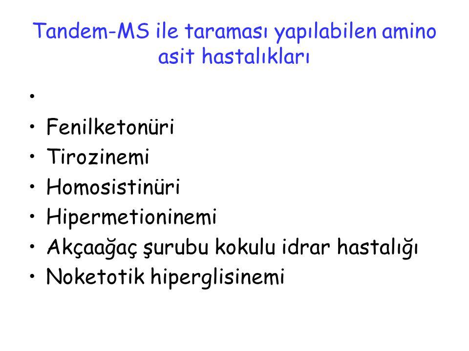 Tandem-MS ile taraması yapılabilen amino asit hastalıkları Fenilketonüri Tirozinemi Homosistinüri Hipermetioninemi Akçaağaç şurubu kokulu idrar hastal