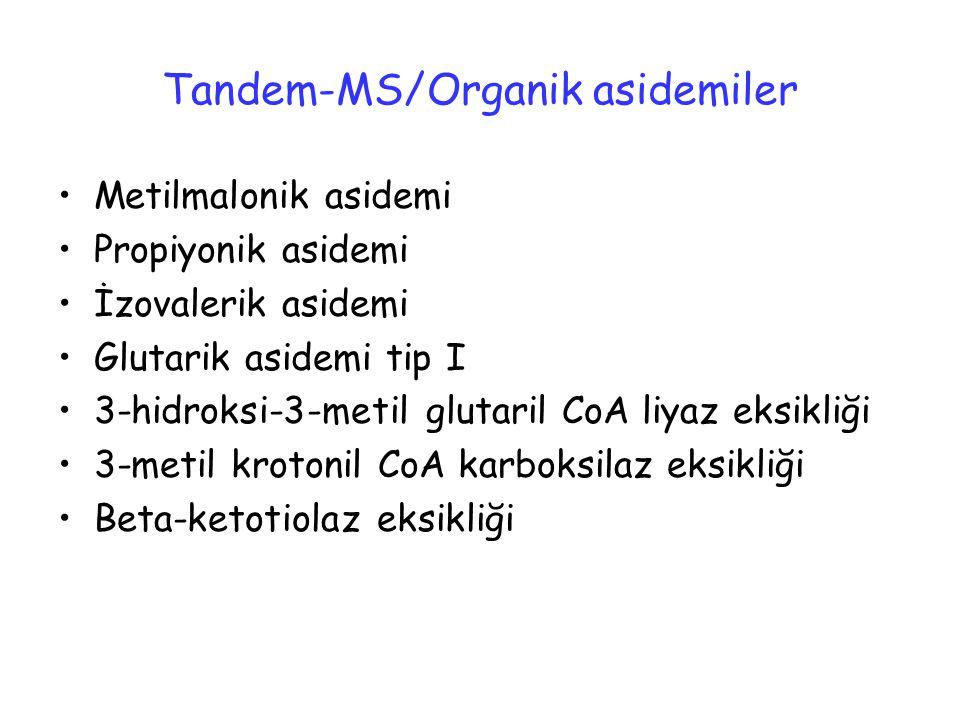 Tandem-MS/Organik asidemiler Metilmalonik asidemi Propiyonik asidemi İzovalerik asidemi Glutarik asidemi tip I 3-hidroksi-3-metil glutaril CoA liyaz e