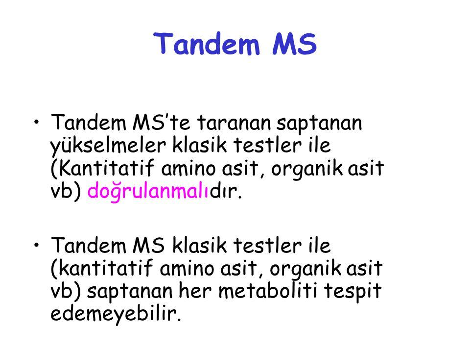 Tandem MS Tandem MS'te taranan saptanan yükselmeler klasik testler ile (Kantitatif amino asit, organik asit vb) doğrulanmalıdır. Tandem MS klasik test