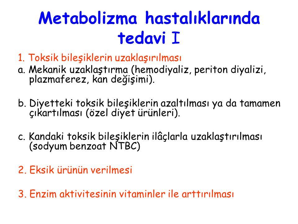 Metabolizma hastalıklarında tedavi I 1. Toksik bileşiklerin uzaklaşırılması a. Mekanik uzaklaştırma (hemodiyaliz, periton diyalizi, plazmaferez, kan d