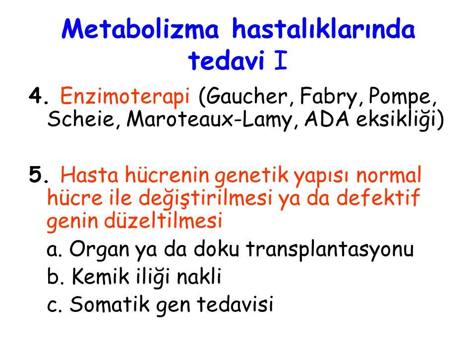 4. Enzimoterapi (Gaucher, Fabry, Pompe, Scheie, Maroteaux-Lamy, ADA eksikliği) 5. Hasta hücrenin genetik yapısı normal hücre ile değiştirilmesi ya da