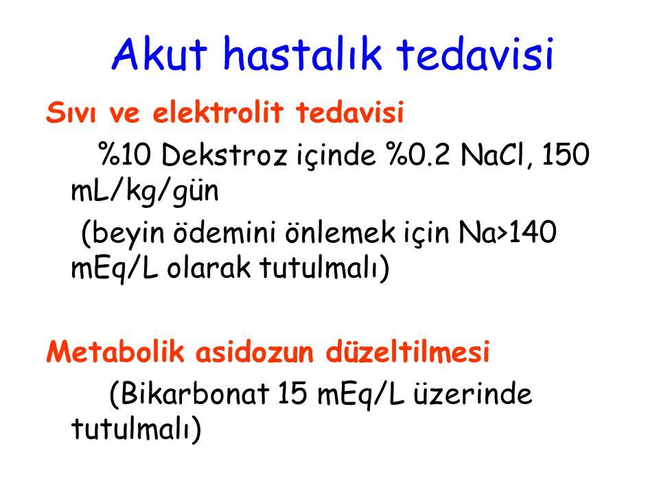 Sıvı ve elektrolit tedavisi %10 Dekstroz içinde %0.2 NaCl, 150 mL/kg/gün (beyin ödemini önlemek için Na>140 mEq/L olarak tutulmalı) Metabolik asidozun