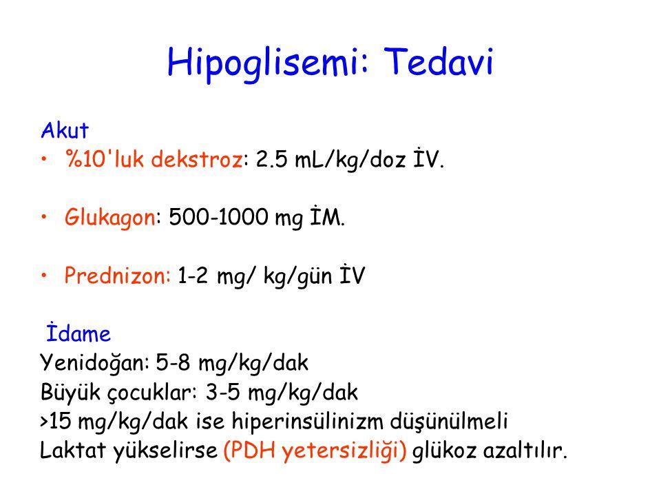 Hipoglisemi: Tedavi Akut %10'luk dekstroz: 2.5 mL/kg/doz İV. Glukagon: 500-1000 mg İM. Prednizon: 1-2 mg/ kg/gün İV İdame Yenidoğan: 5-8 mg/kg/dak Büy